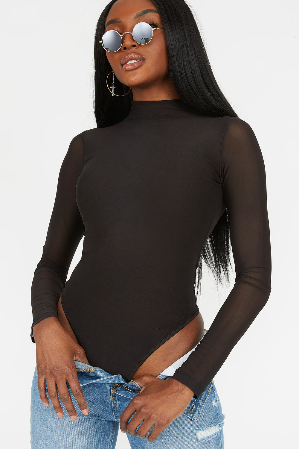 Mesh Mock Neck Long Sleeve Bodysuit Black
