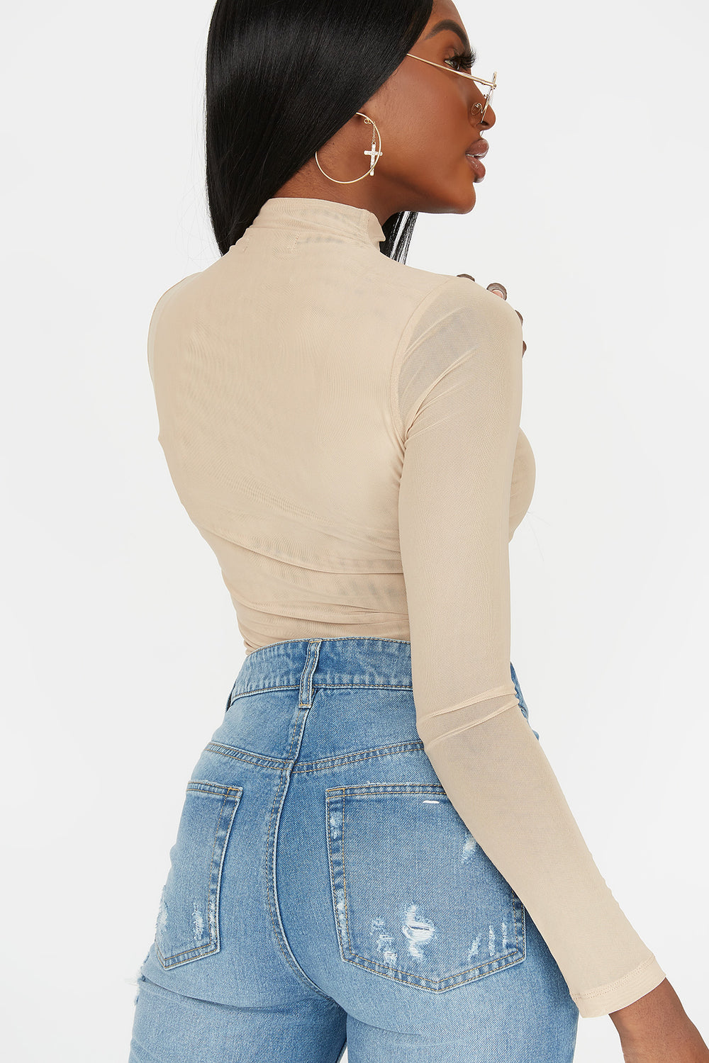 Mesh Mock Neck Long Sleeve Bodysuit Tan