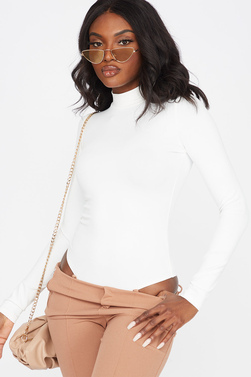 Soft Mock Neck Long Sleeve Bodysuit Ivory