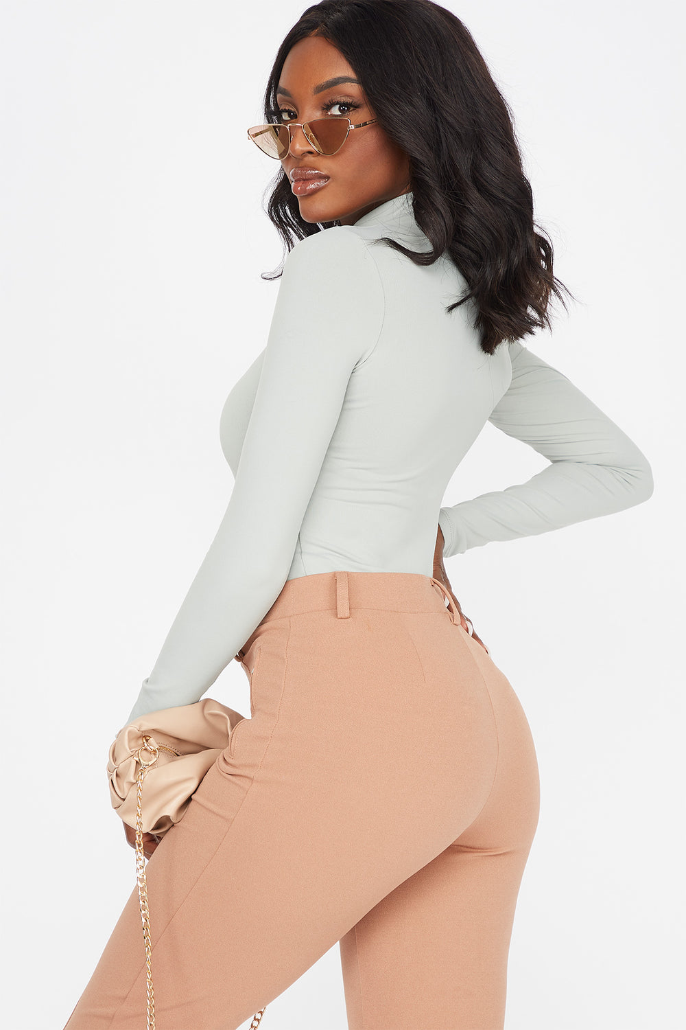 Soft Mock Neck Long Sleeve Bodysuit Sage