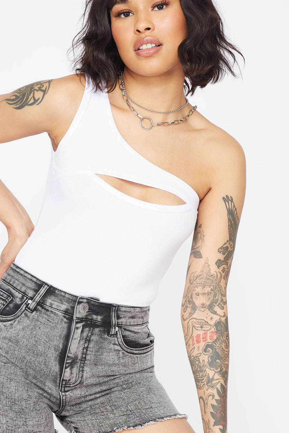 Ribbed Cut-Out One Shoulder Bodysuit White