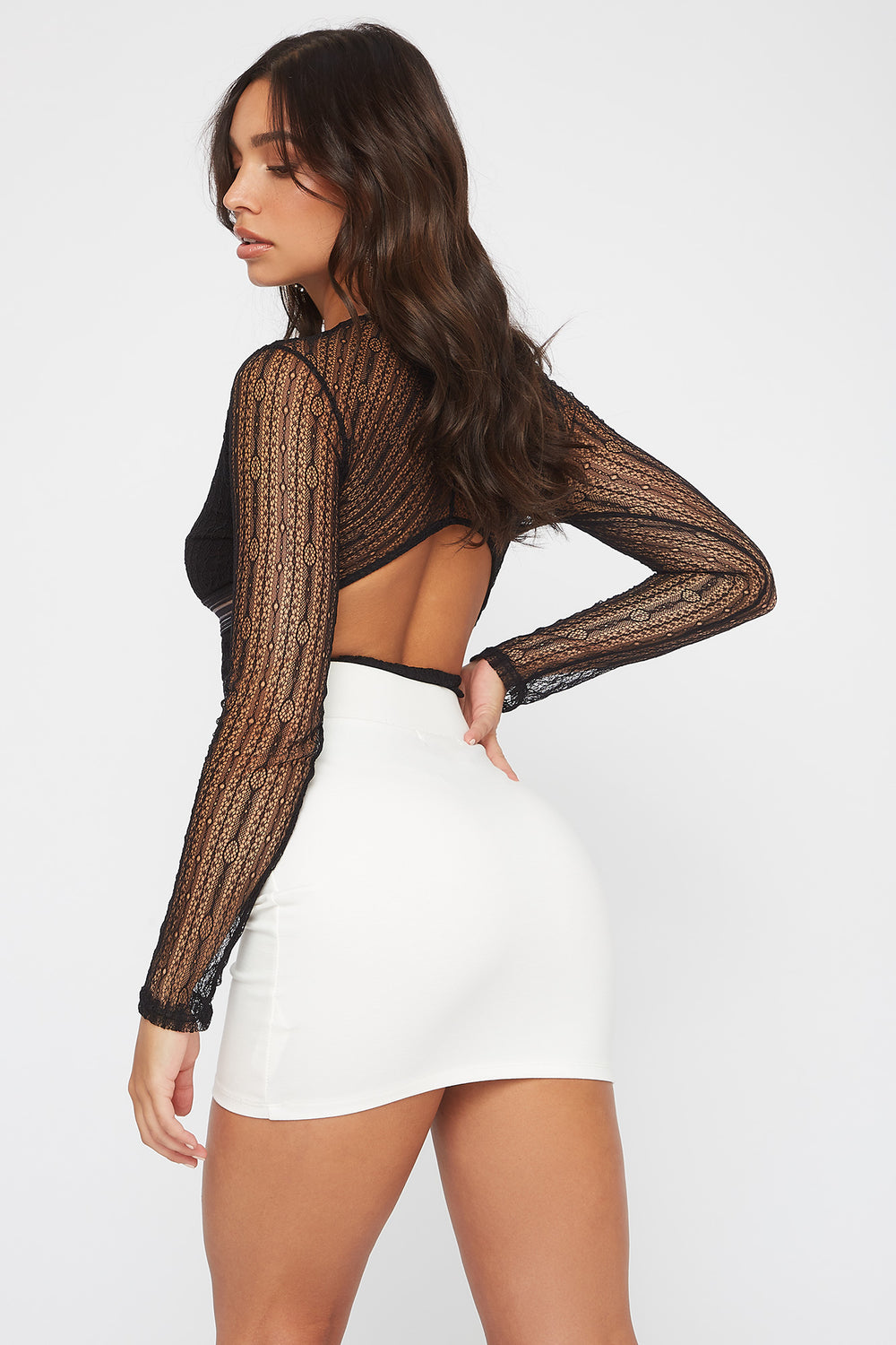 Cut Out Back V-Neck Lace Long Sleeve Bodysuit Black