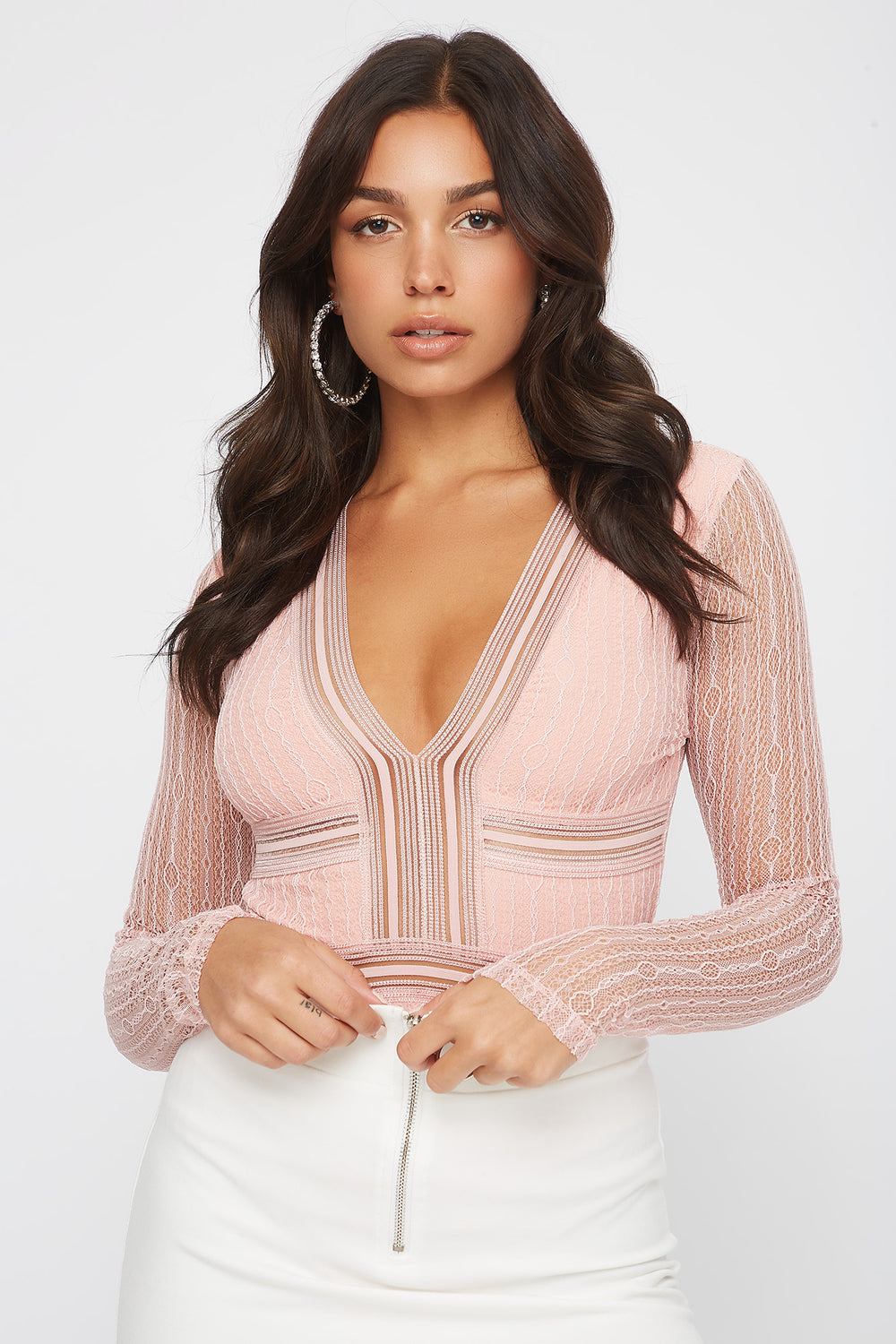 Cut Out Back V-Neck Lace Long Sleeve Bodysuit Dusty Rose