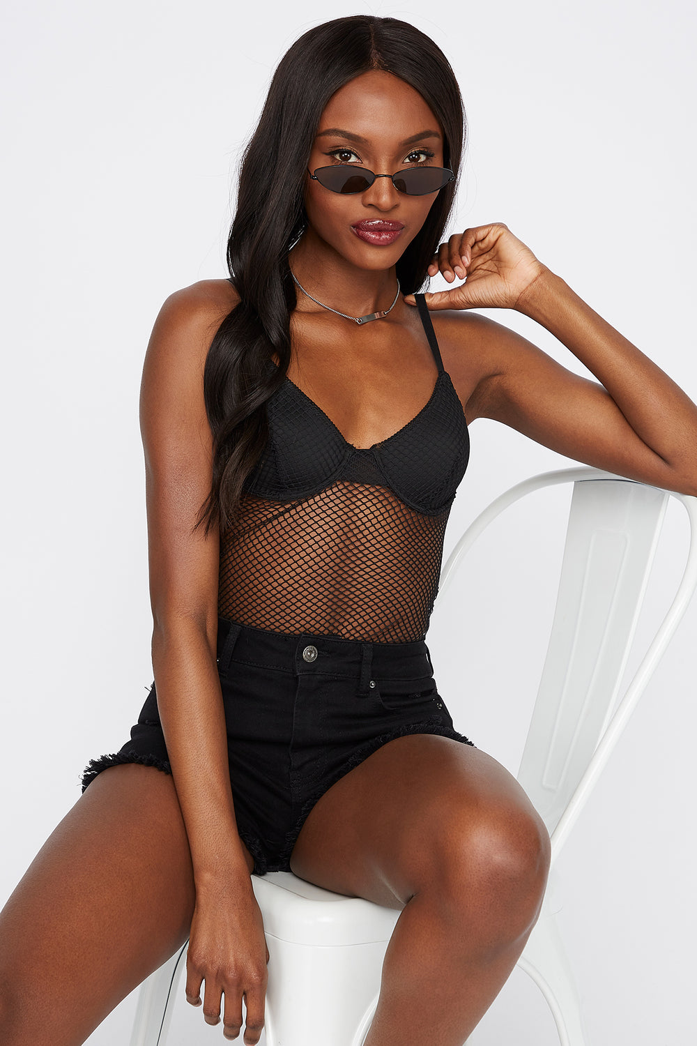 Net Underwire Sleeveless Bodysuit Black
