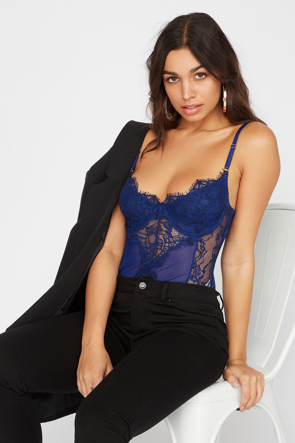 Contrast Lace Teddy Bodysuit Royal Blue