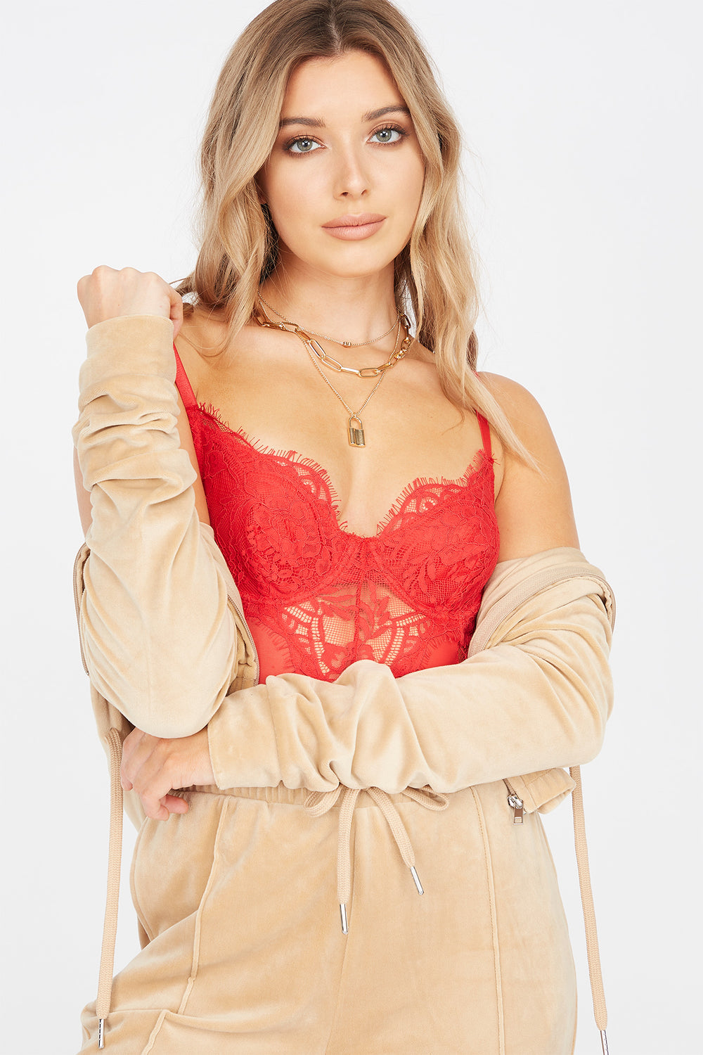 Contrast Lace Teddy Bodysuit Red