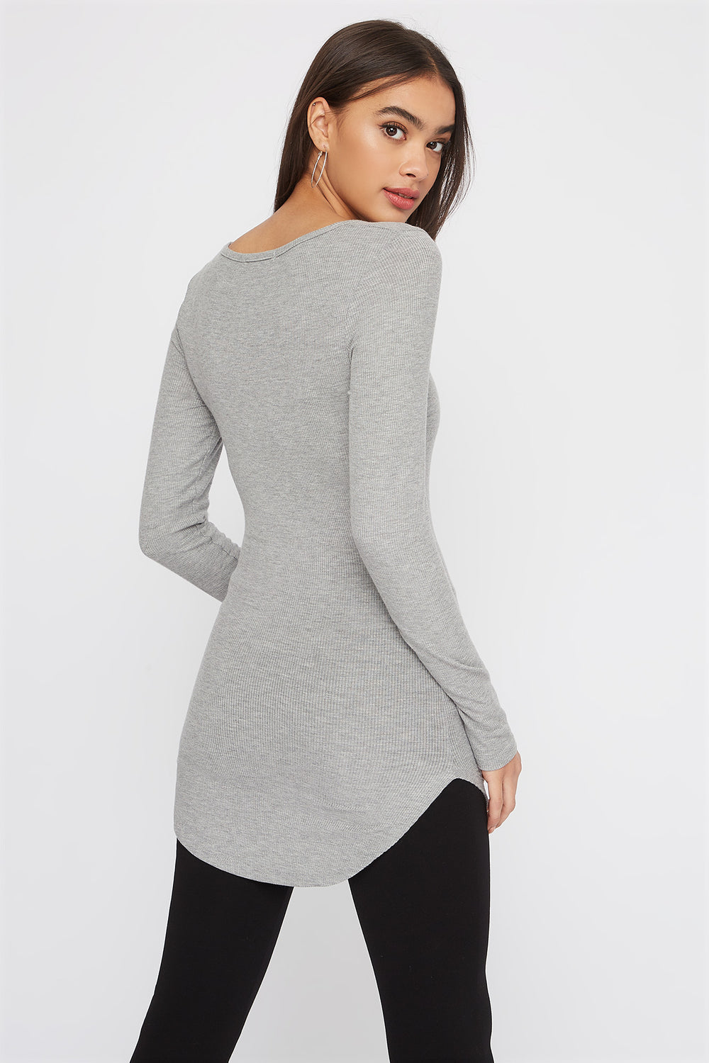 Longline Crew Neck Long Sleeve Heather Grey