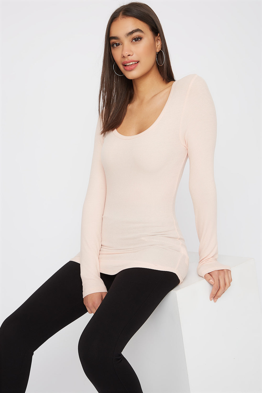 Longline Crew Neck Long Sleeve Dusty Rose