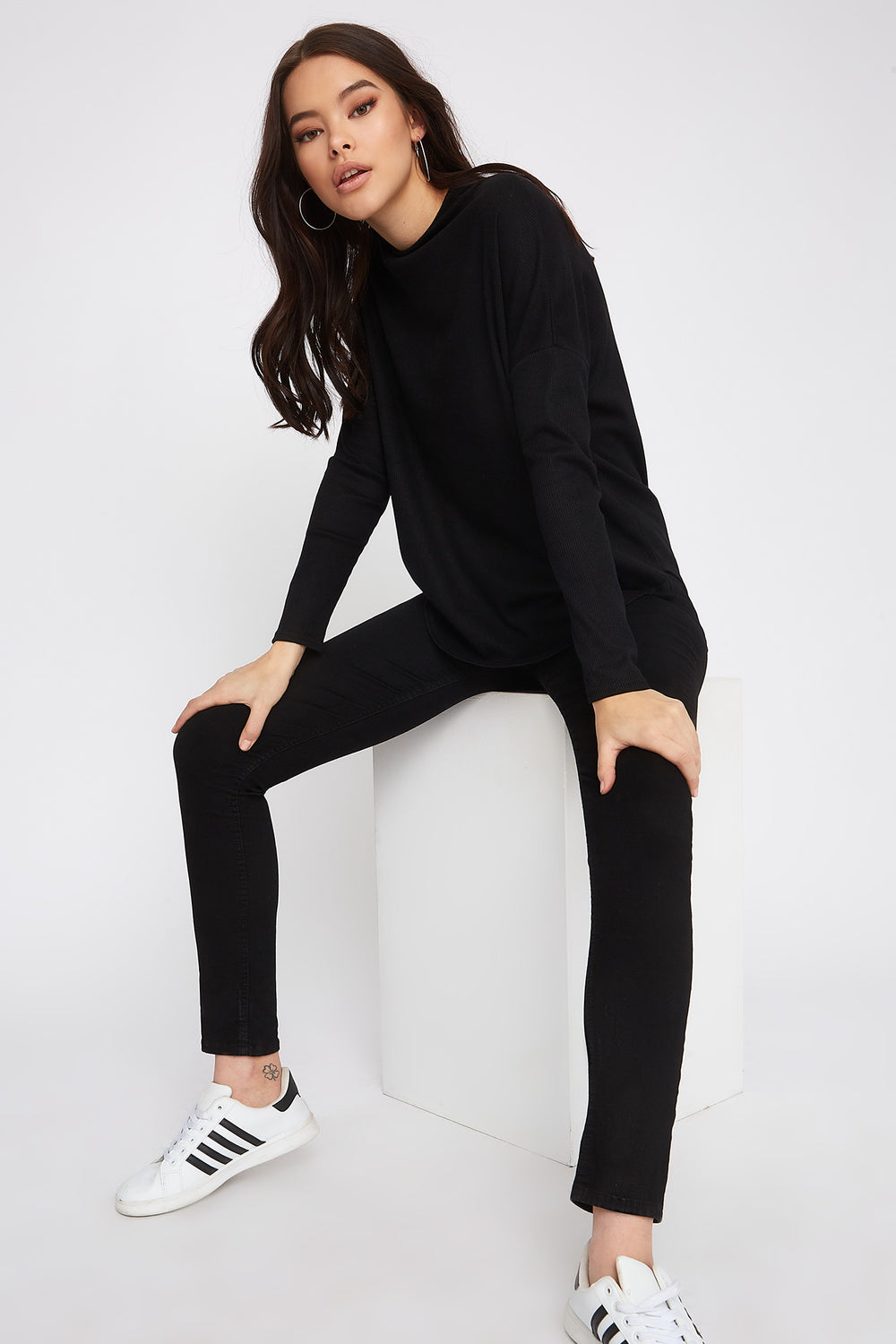Waffle Knit Mock Neck Oversized Long Sleeve Black