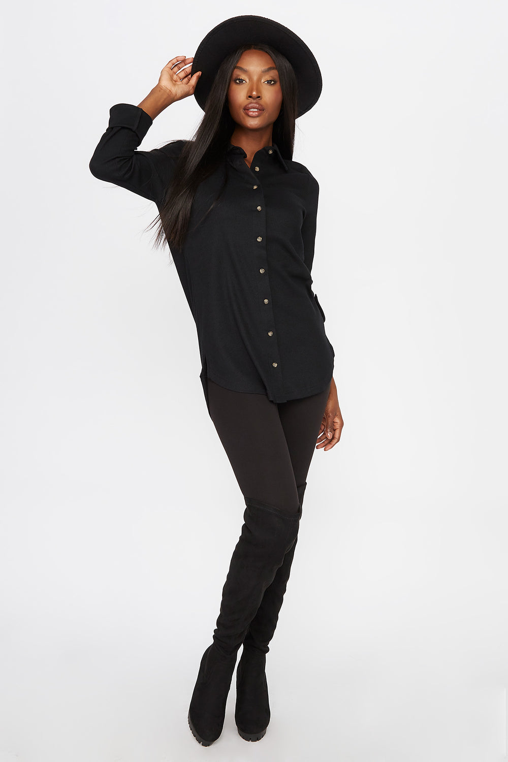 Waffle Button-Up Shirt Black