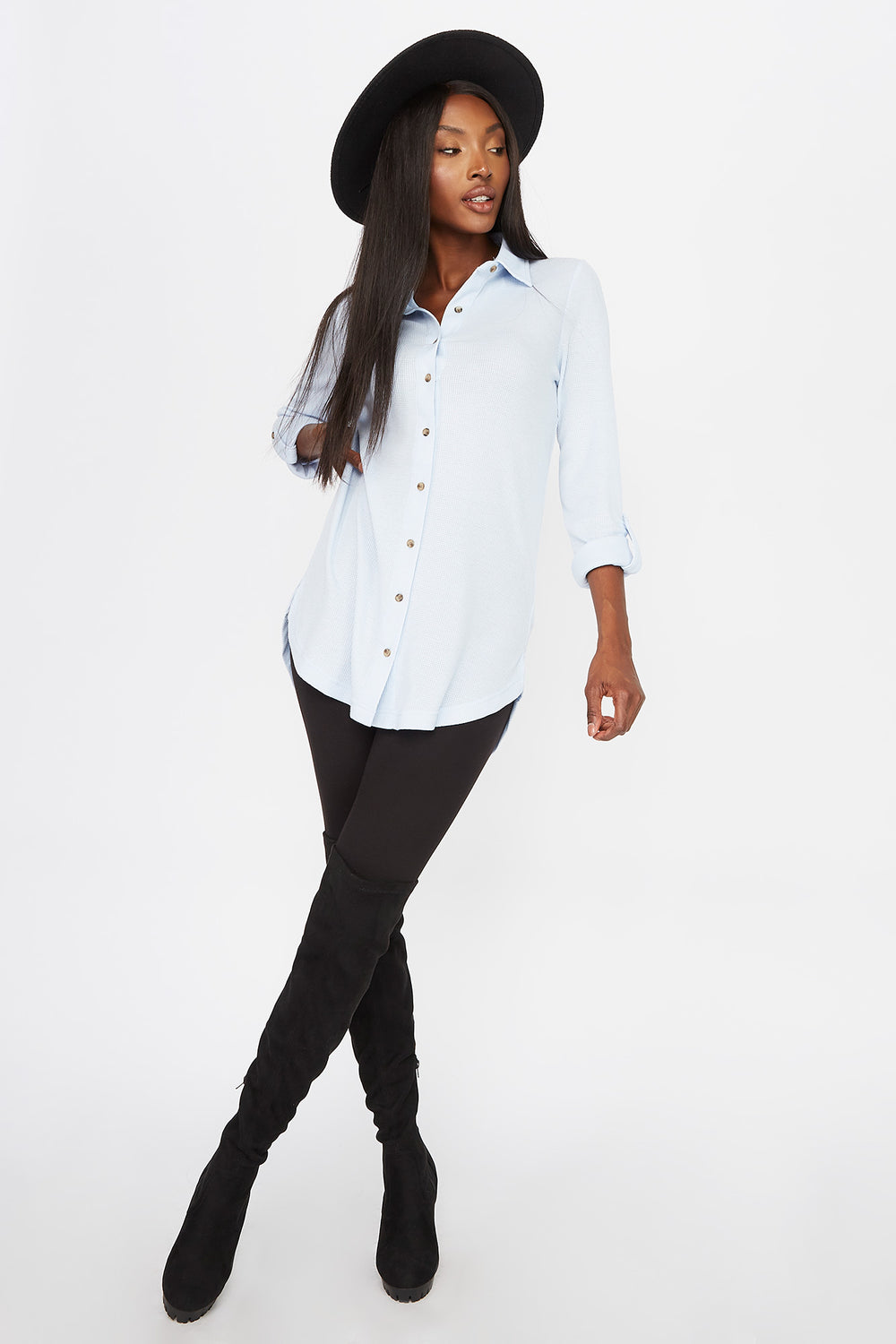 Waffle Button-Up Shirt Light Blue