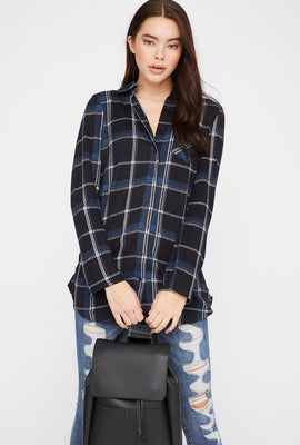 Plaid Button-Up Roll-Tab Long Sleeve