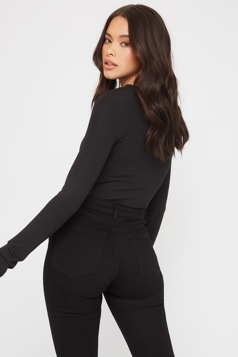 Ribbed V-Neck Empire Waist Long Sleeve Black