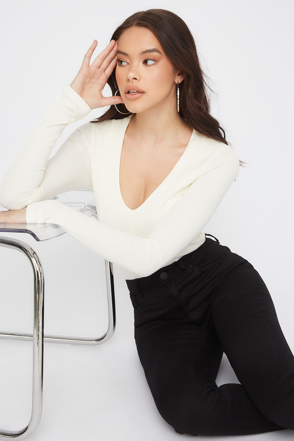 Ribbed V-Neck Empire Waist Long Sleeve White