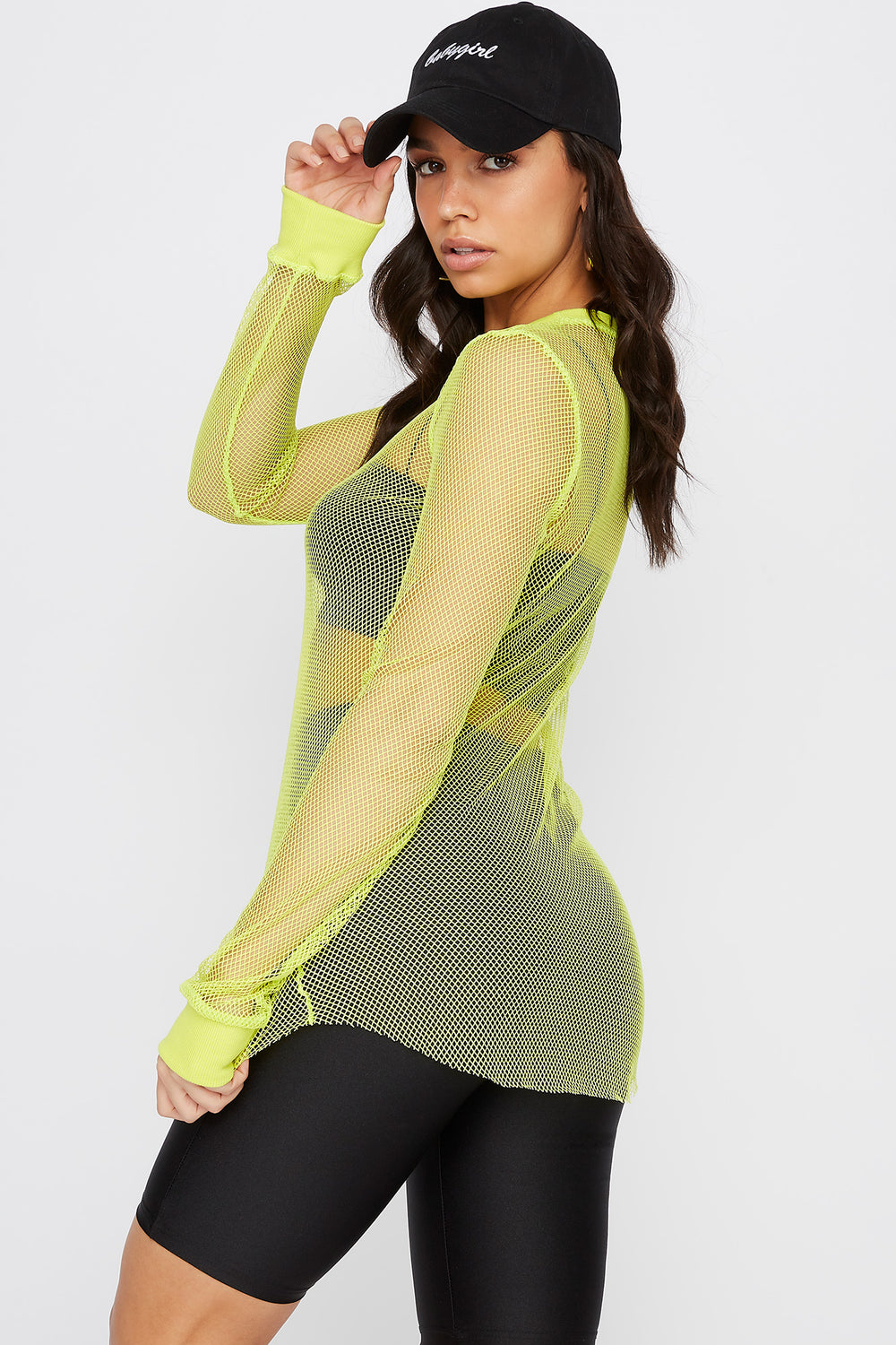 Net Curved Hem Long Sleeve Top Neon Yellow
