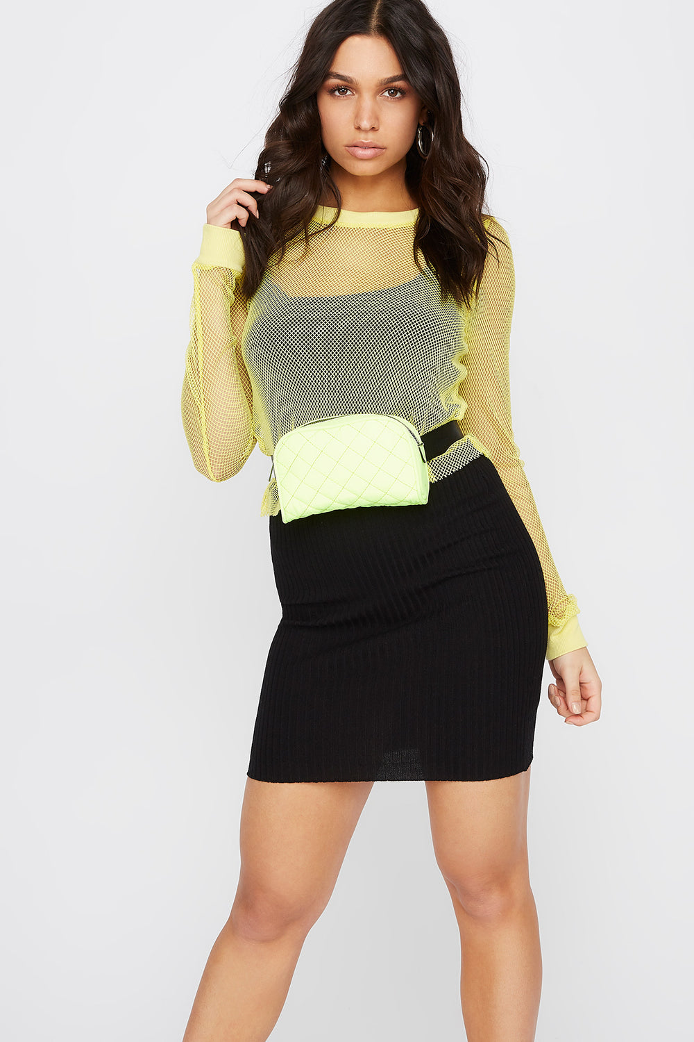Net Cropped Long Sleeve Top Neon Yellow