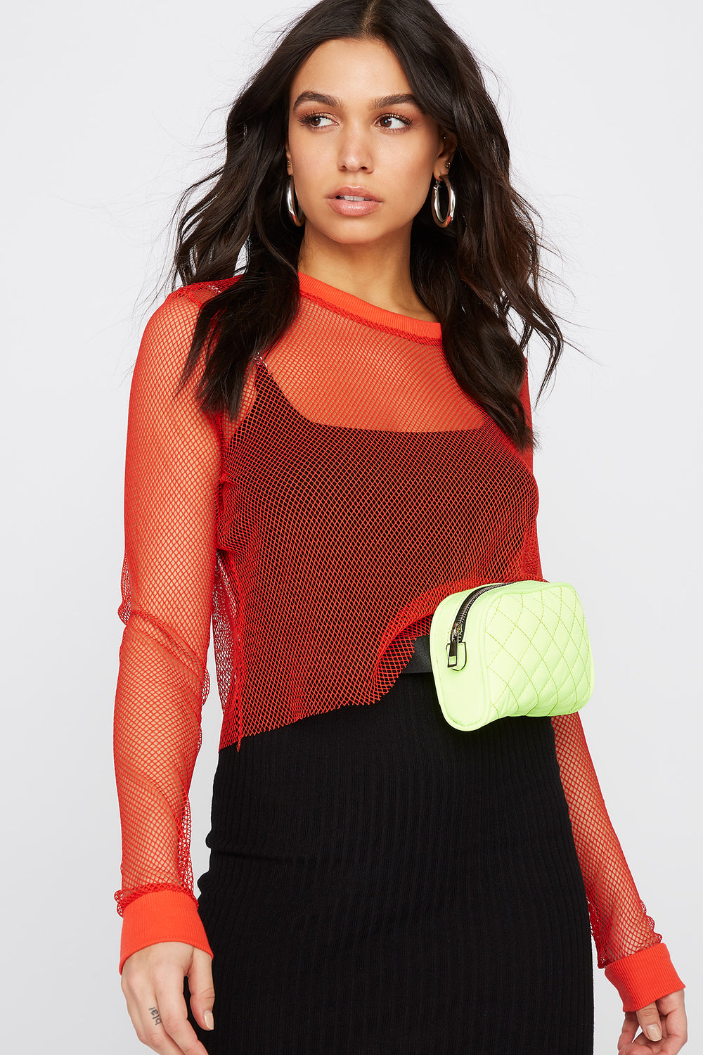 Net Cropped Long Sleeve Top Red