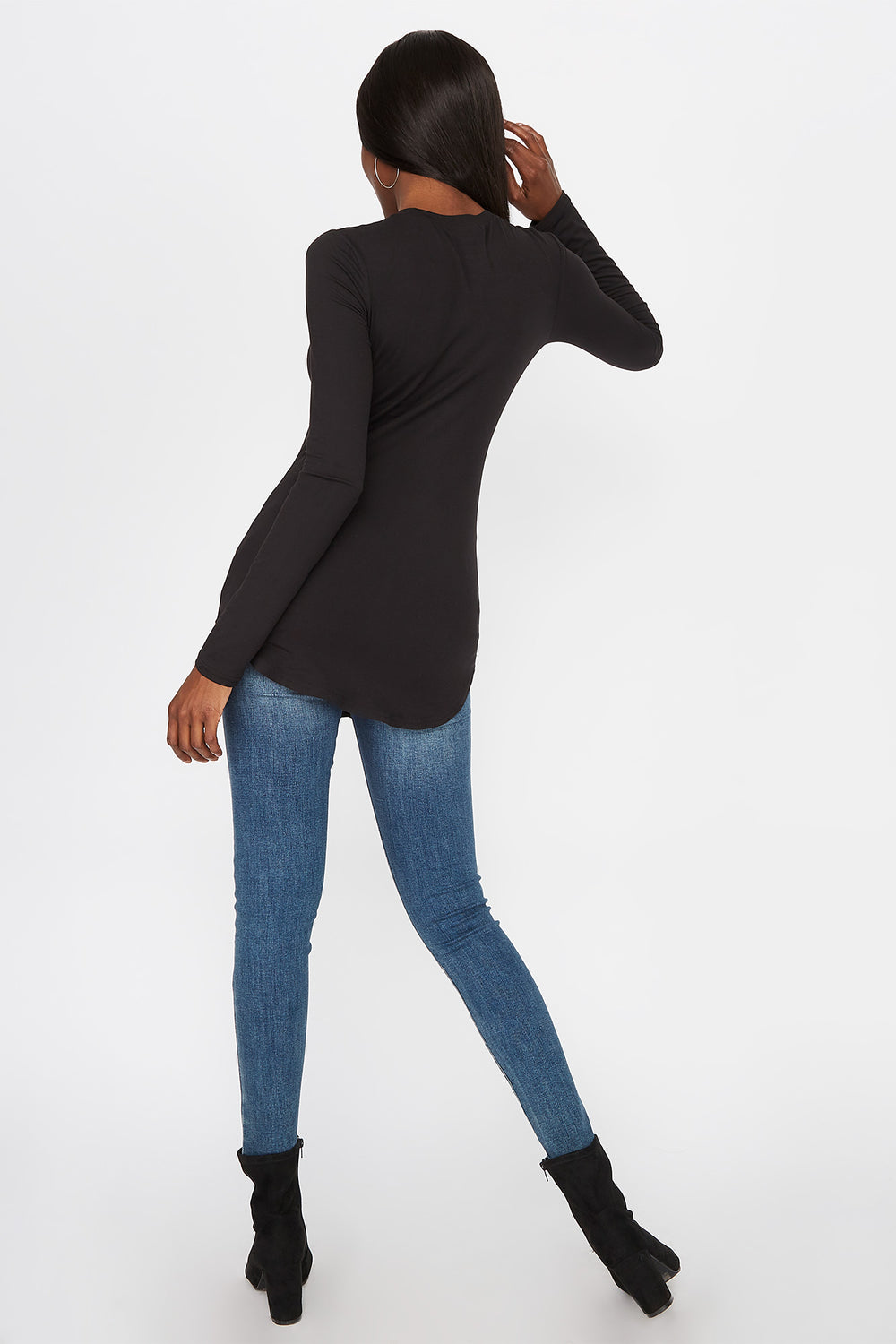 Longline Crew Neck Long Sleeve Black