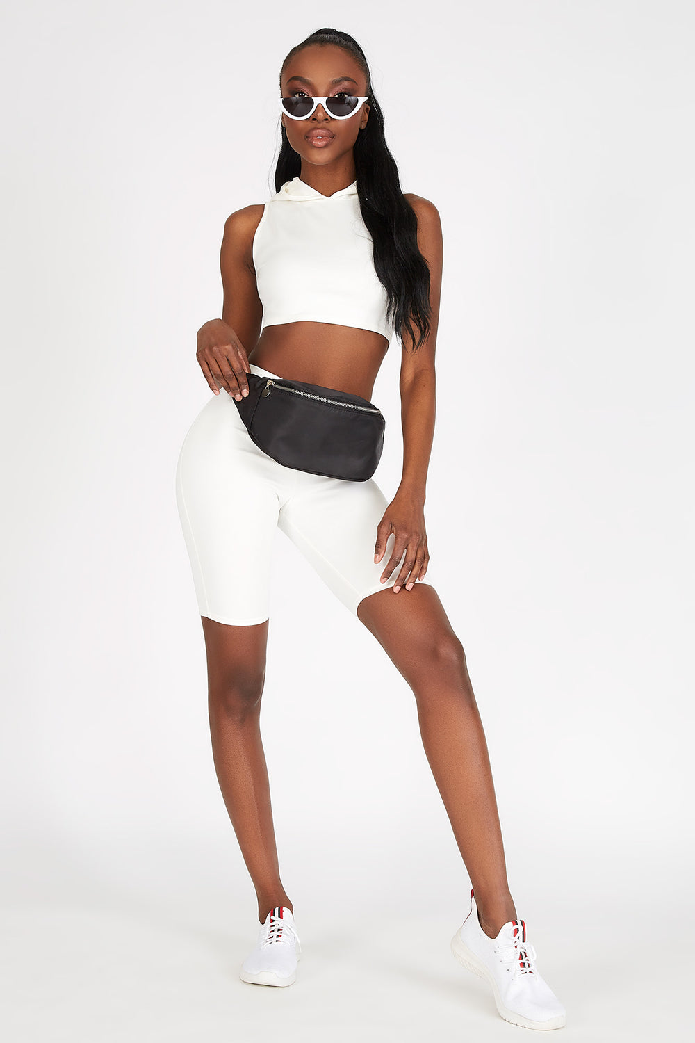 Sleeveless Cropped Hoodie White
