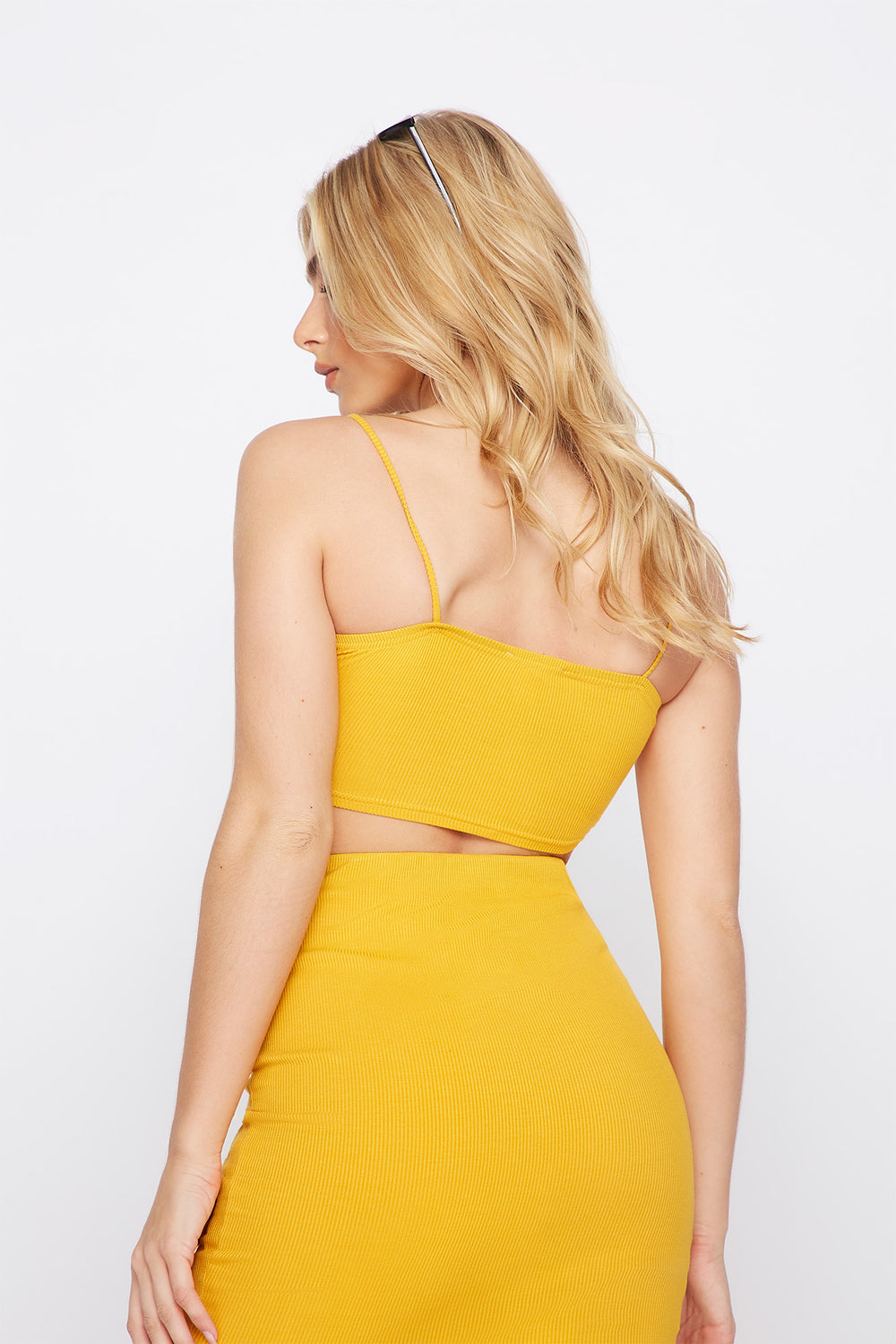 Ribbed Cropped Tank Mustard