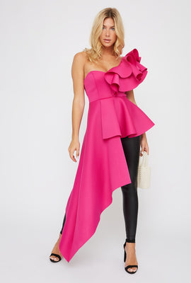 Ruffle One Shoulder Asymmetrical Top