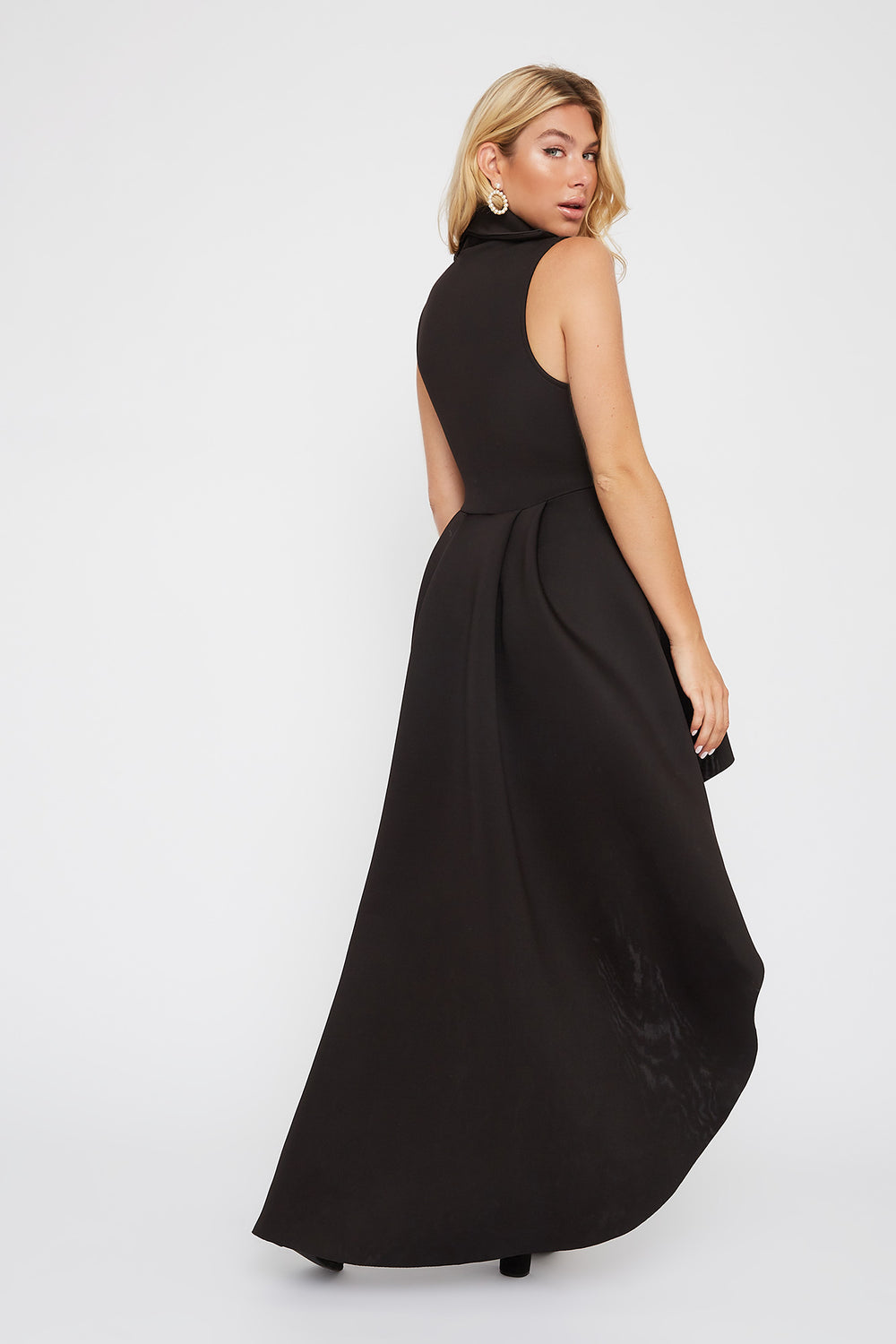 Plunging Collar Sleeveless High-Low Dress Black