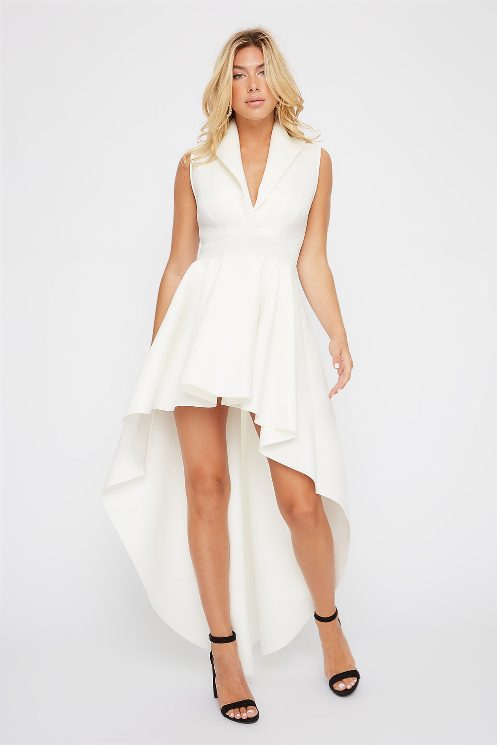 Plunging Collar Sleeveless High-Low Dress White