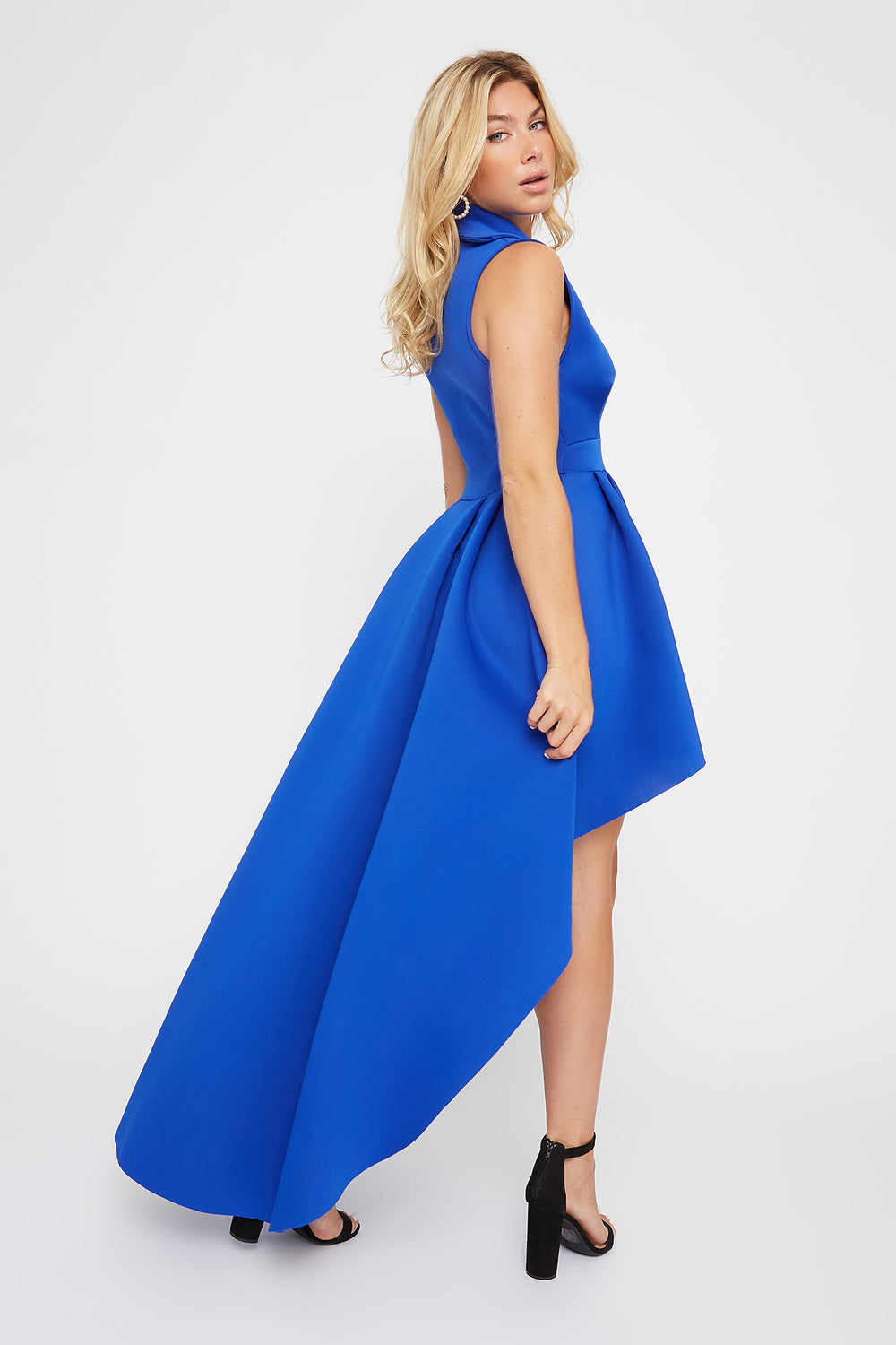 Plunging Collar Sleeveless High-Low Dress Royal Blue