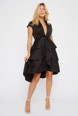Plunging Ruffle Short Sleeve High-Low Dress