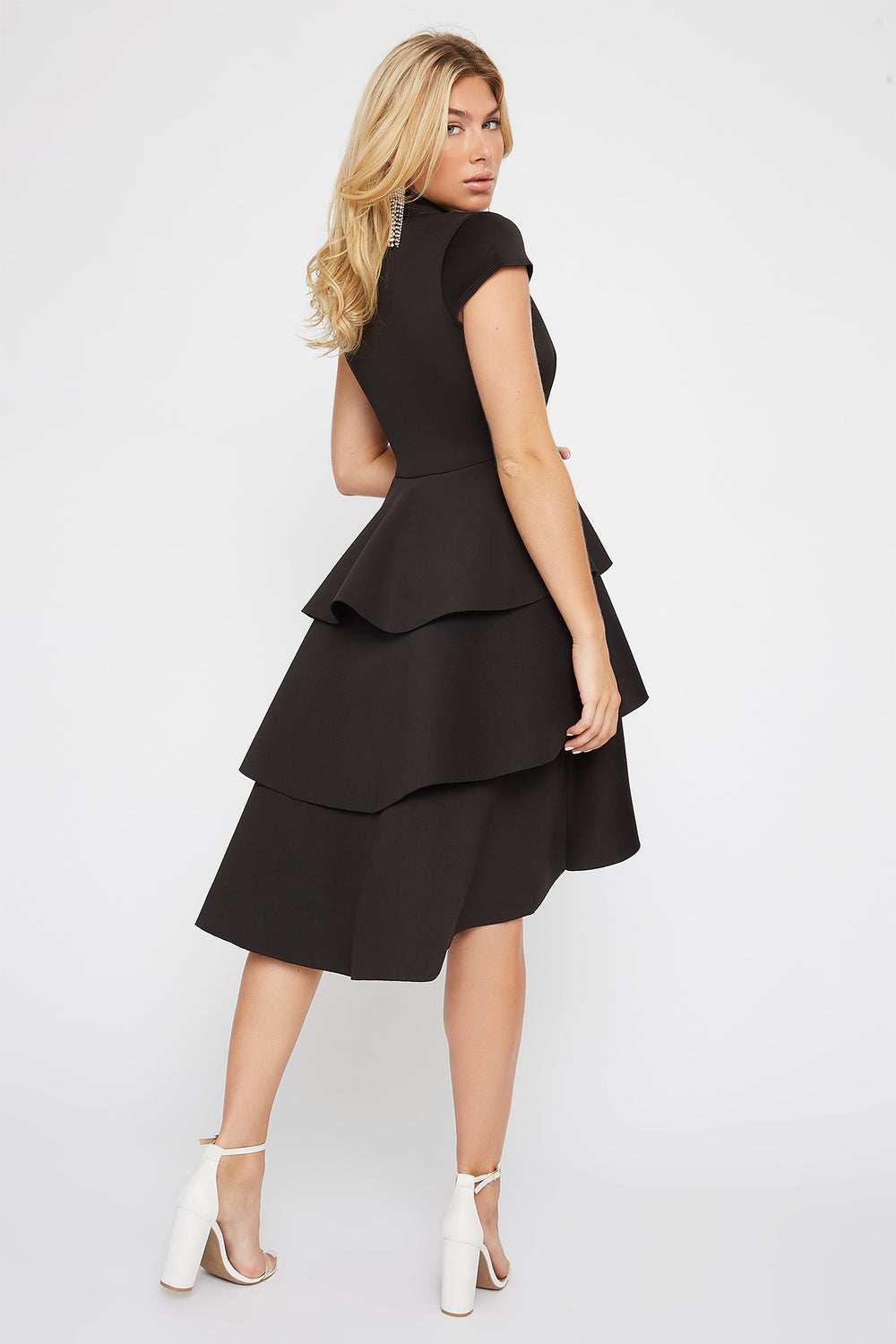 Plunging Ruffle Short Sleeve High-Low Dress Black