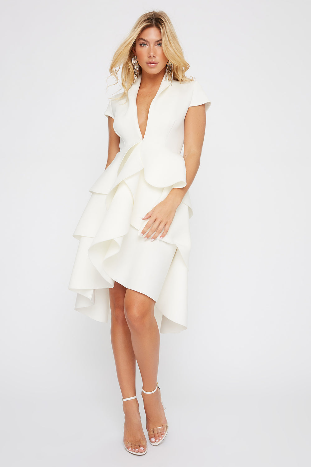 Plunging Ruffle Short Sleeve High-Low Dress White