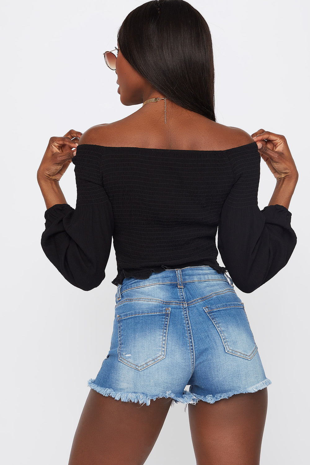 Off The Shoulder Smocked Long Sleeve Top Black