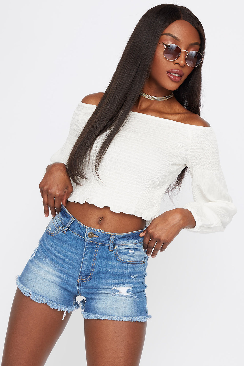 Off The Shoulder Smocked Long Sleeve Top Off White