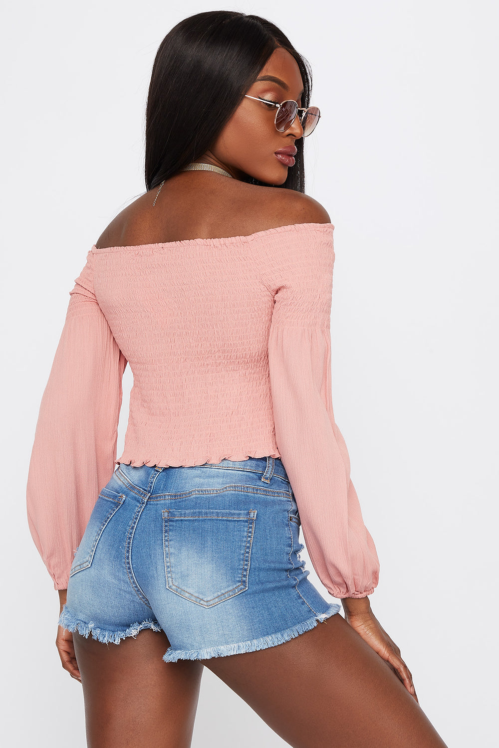 Off The Shoulder Smocked Long Sleeve Top Mauve