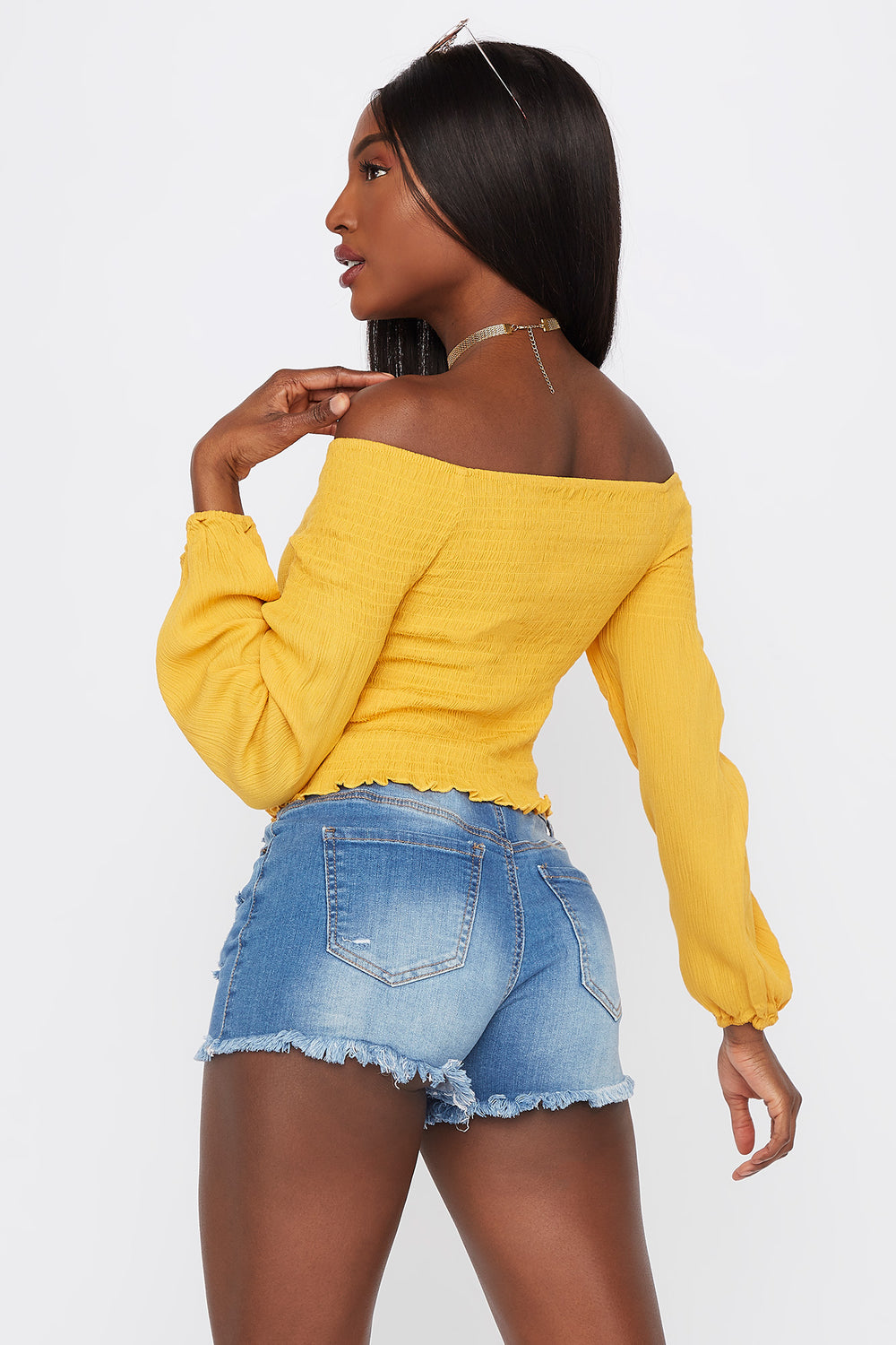 Off The Shoulder Smocked Long Sleeve Top Mustard