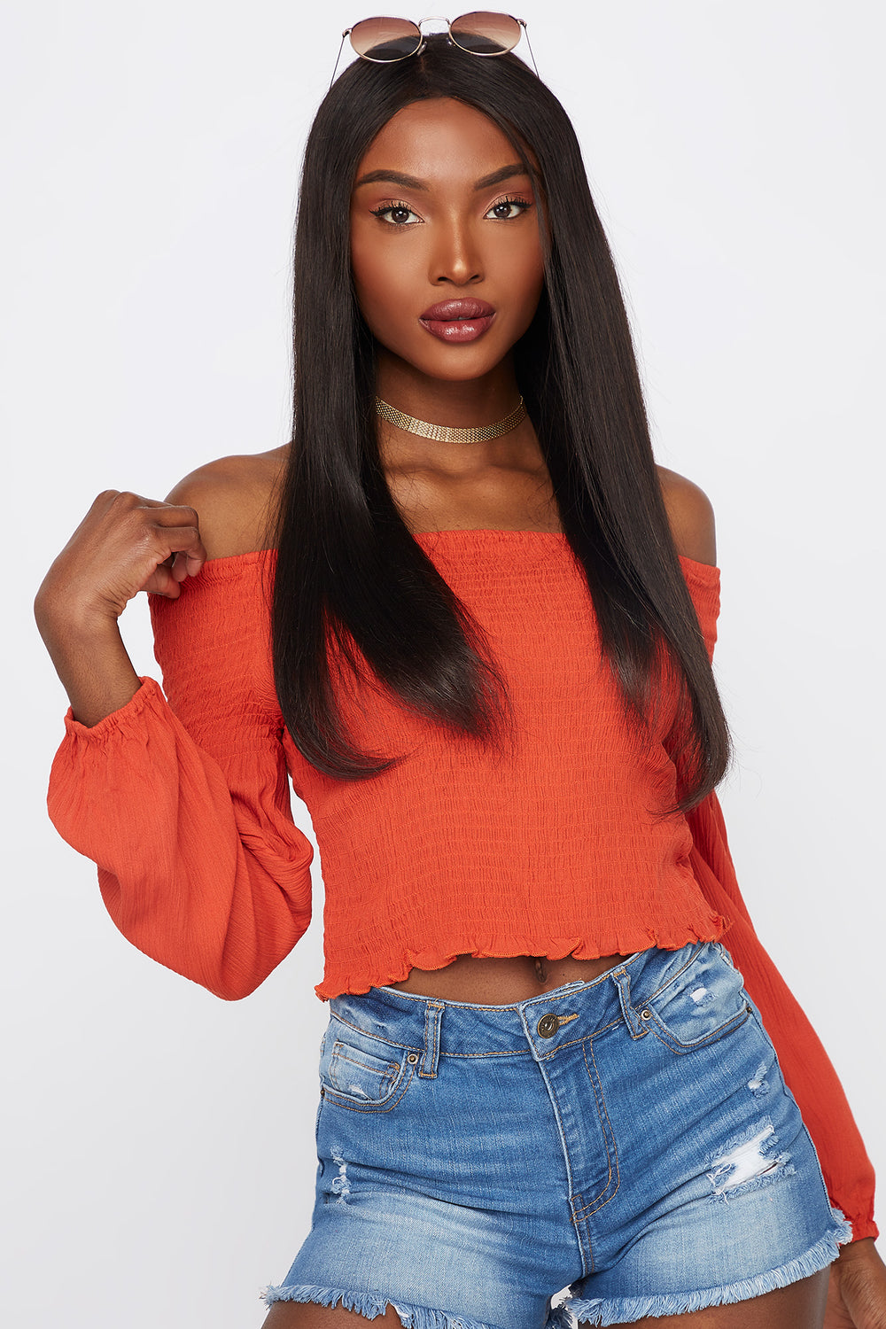 Off The Shoulder Smocked Long Sleeve Top Rust