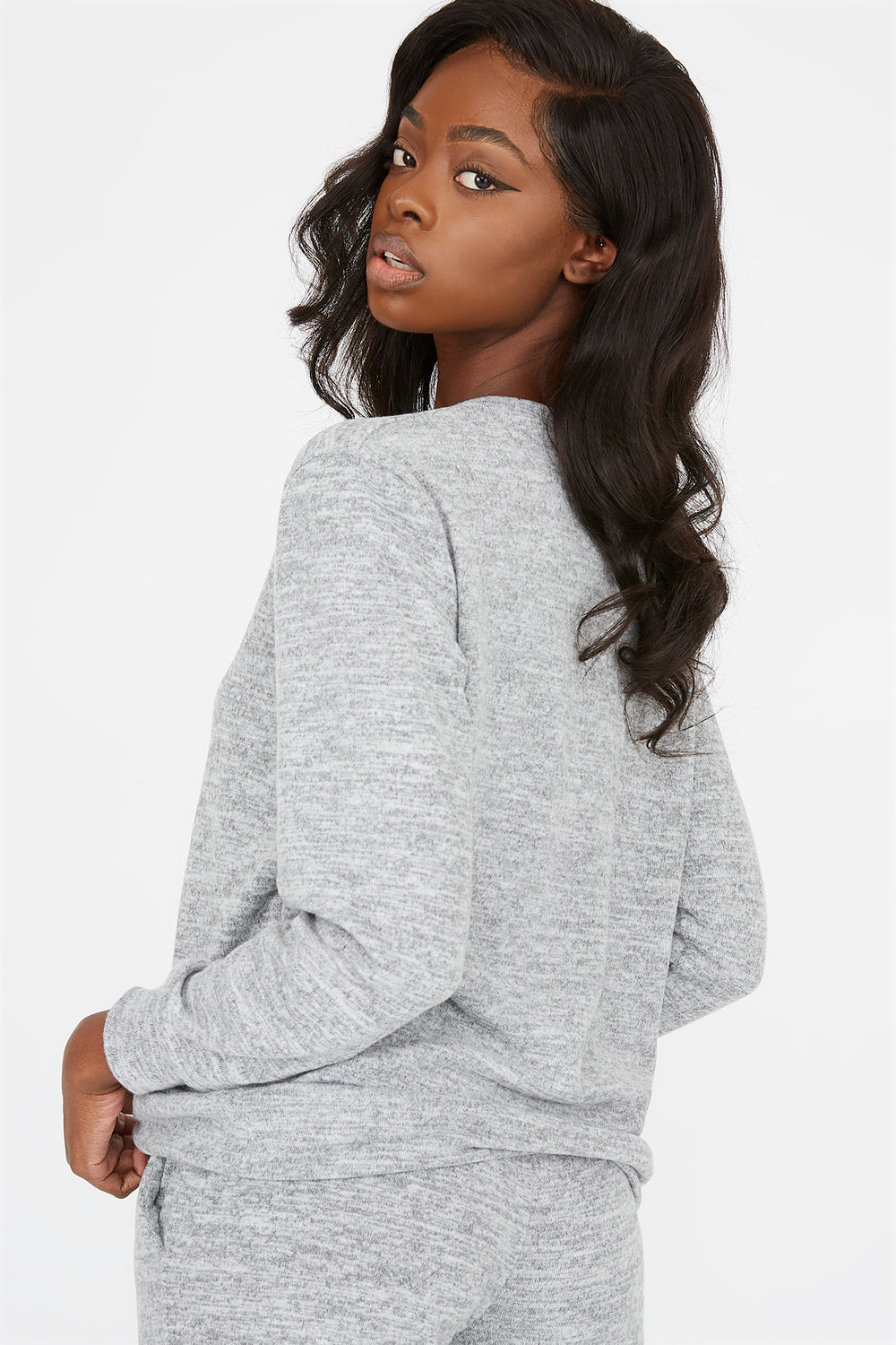 Criss-Cross Hem Boyfriend Sweatshirt Heather Grey