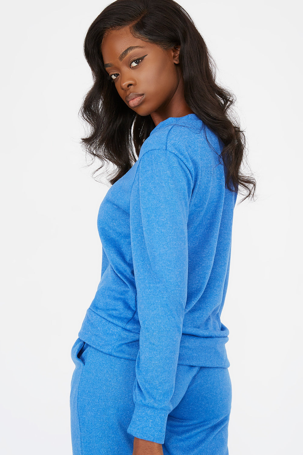 Criss-Cross Hem Boyfriend Sweatshirt Dark Blue