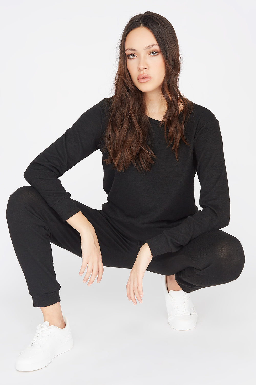 Criss-Cross Hem Boyfriend Sweatshirt Black