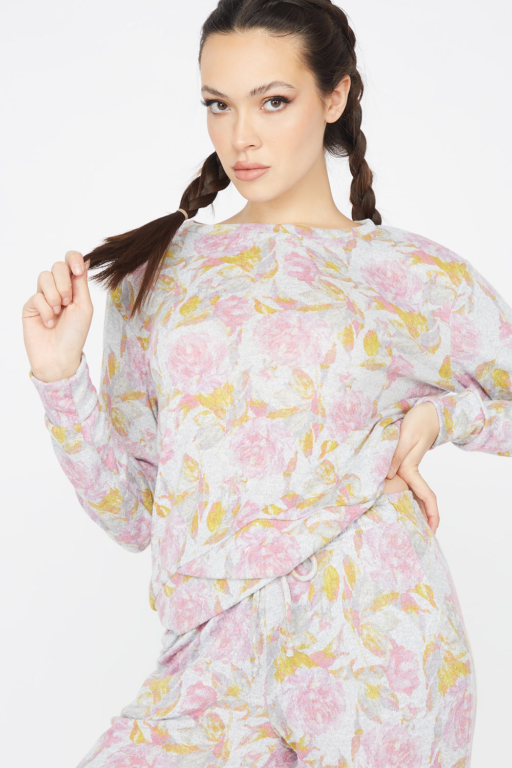 Floral Printed Criss-Cross Hem Boyfriend Sweatshirt Assorted