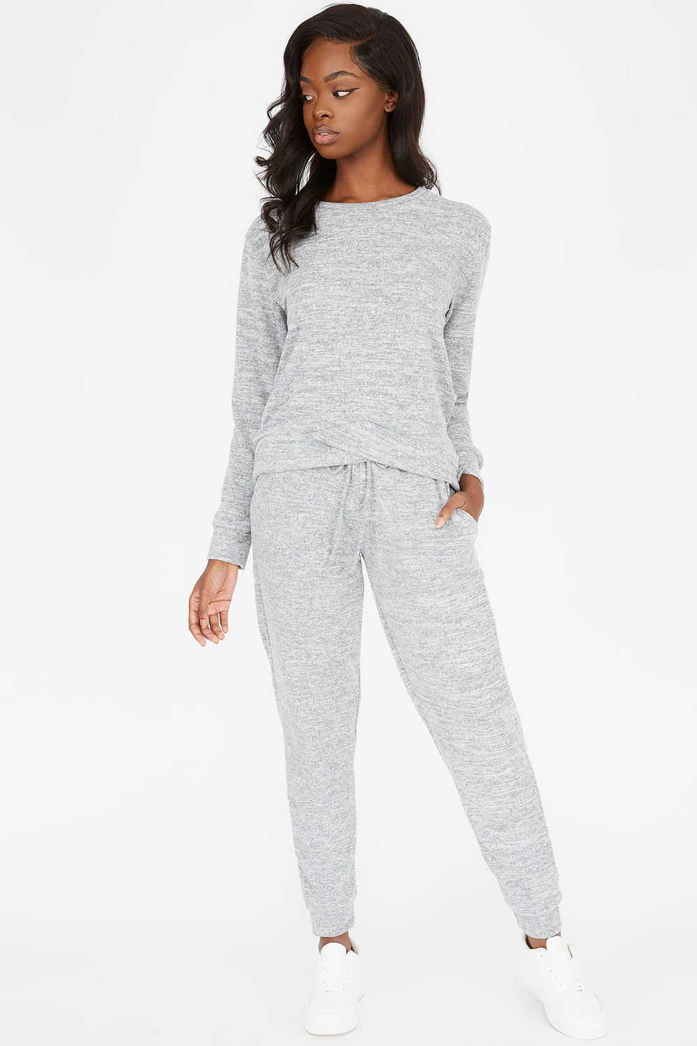 Solid Drawstring Boyfriend Jogger Heather Grey