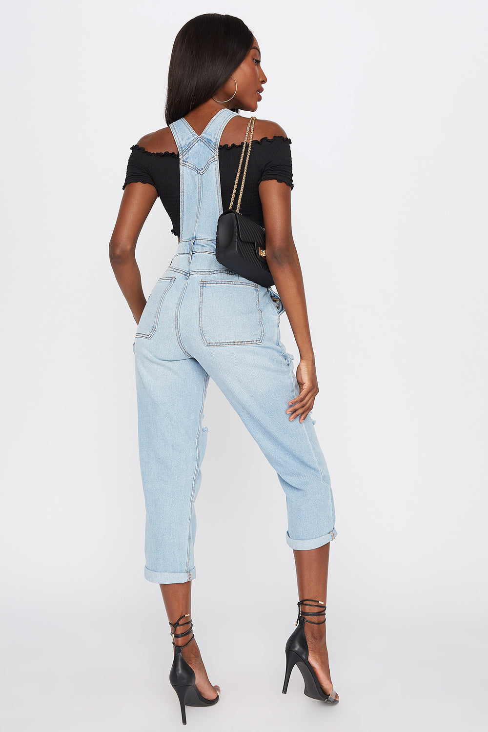 Refuge Light Wash Distressed Cuffed Denim Overall Sky Blue