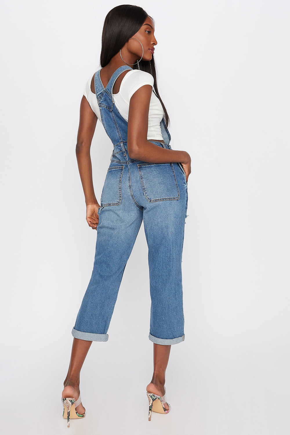 Refuge Light Wash Distressed Cuffed Denim Overall Navy Blue