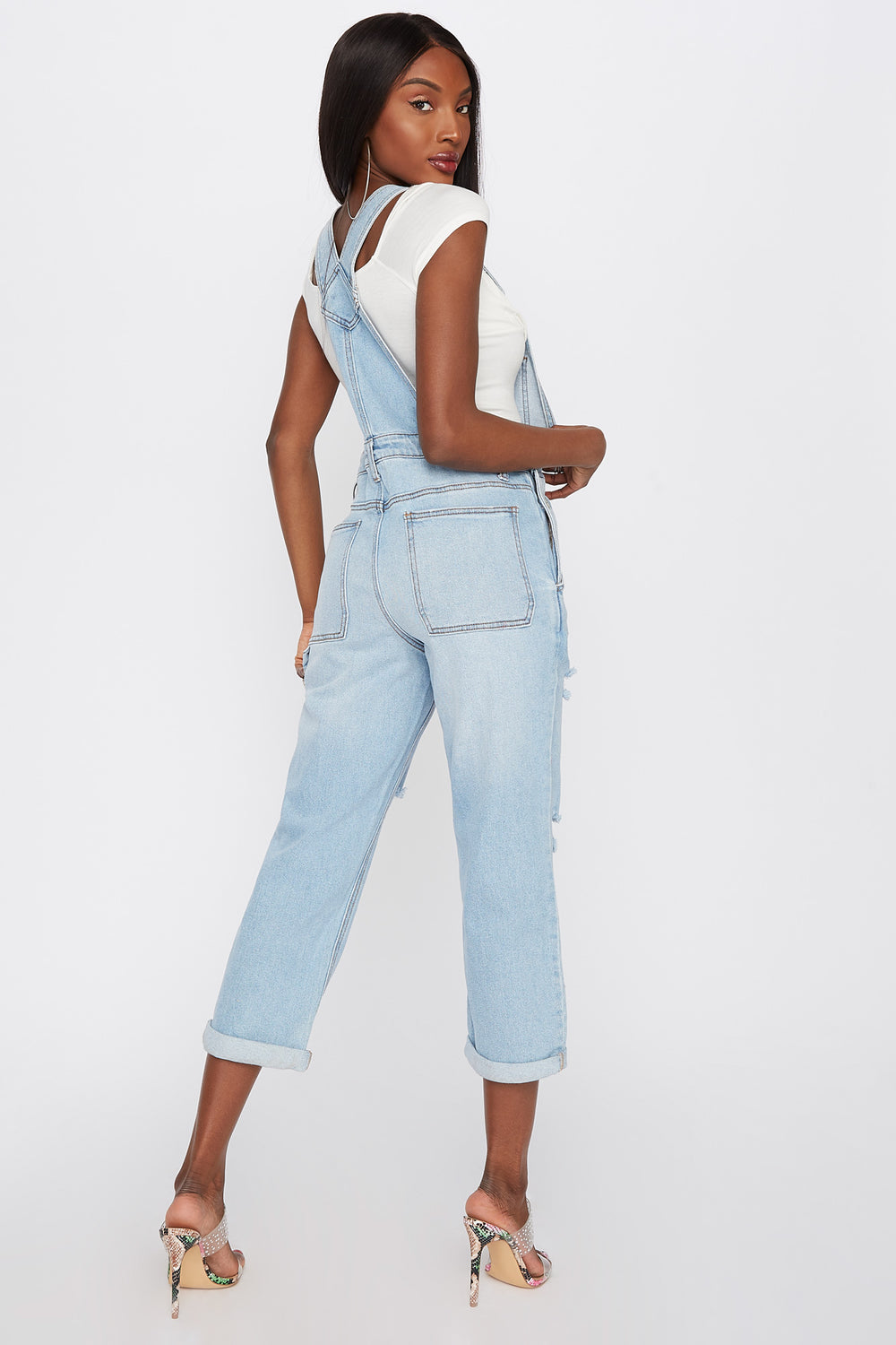 Refuge Light Wash Distressed Cuffed Denim Overall Medium Denim Blue