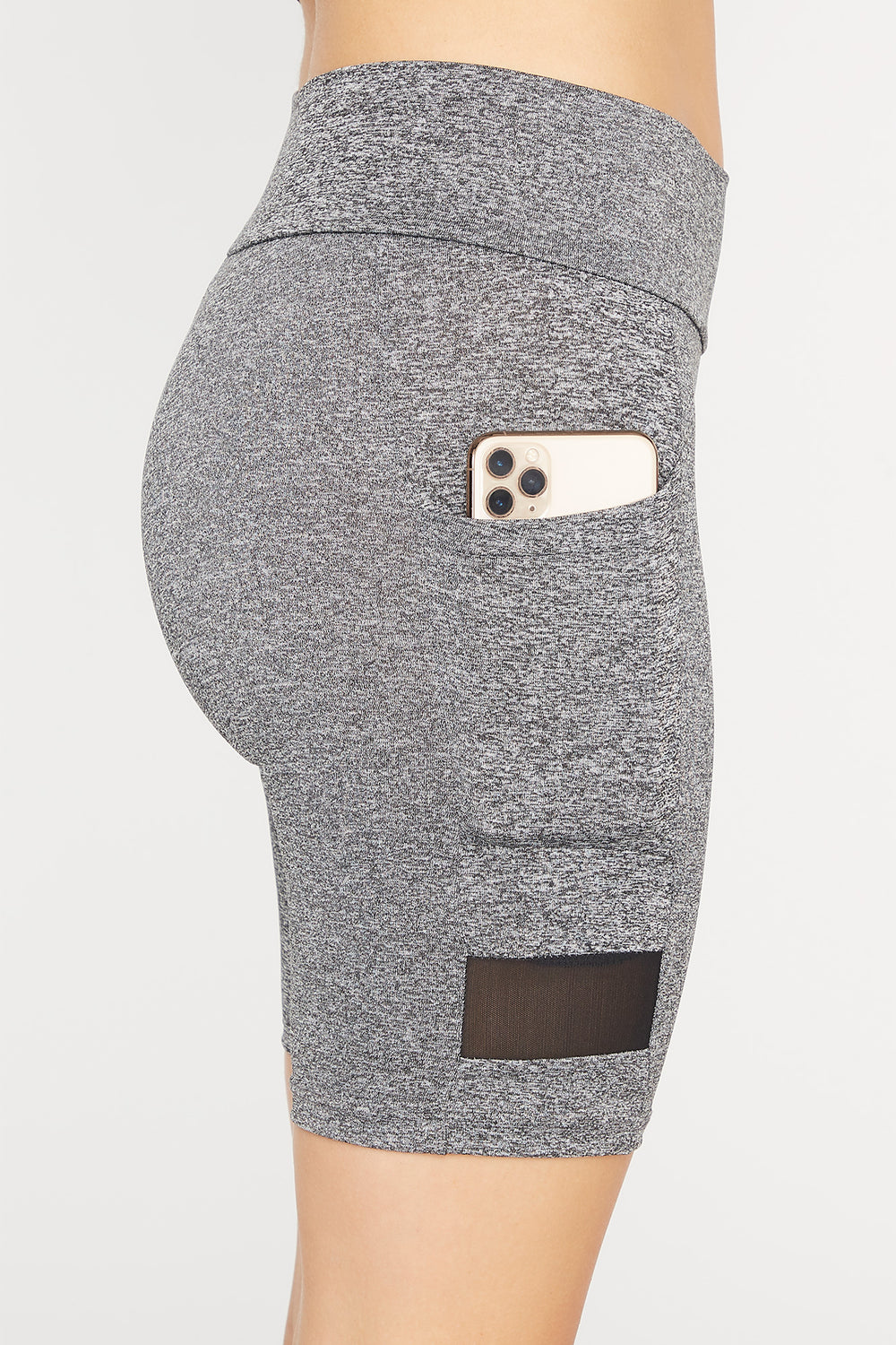 Grey Contrast Mesh High-Rise Pocket Biker Short Heather Grey