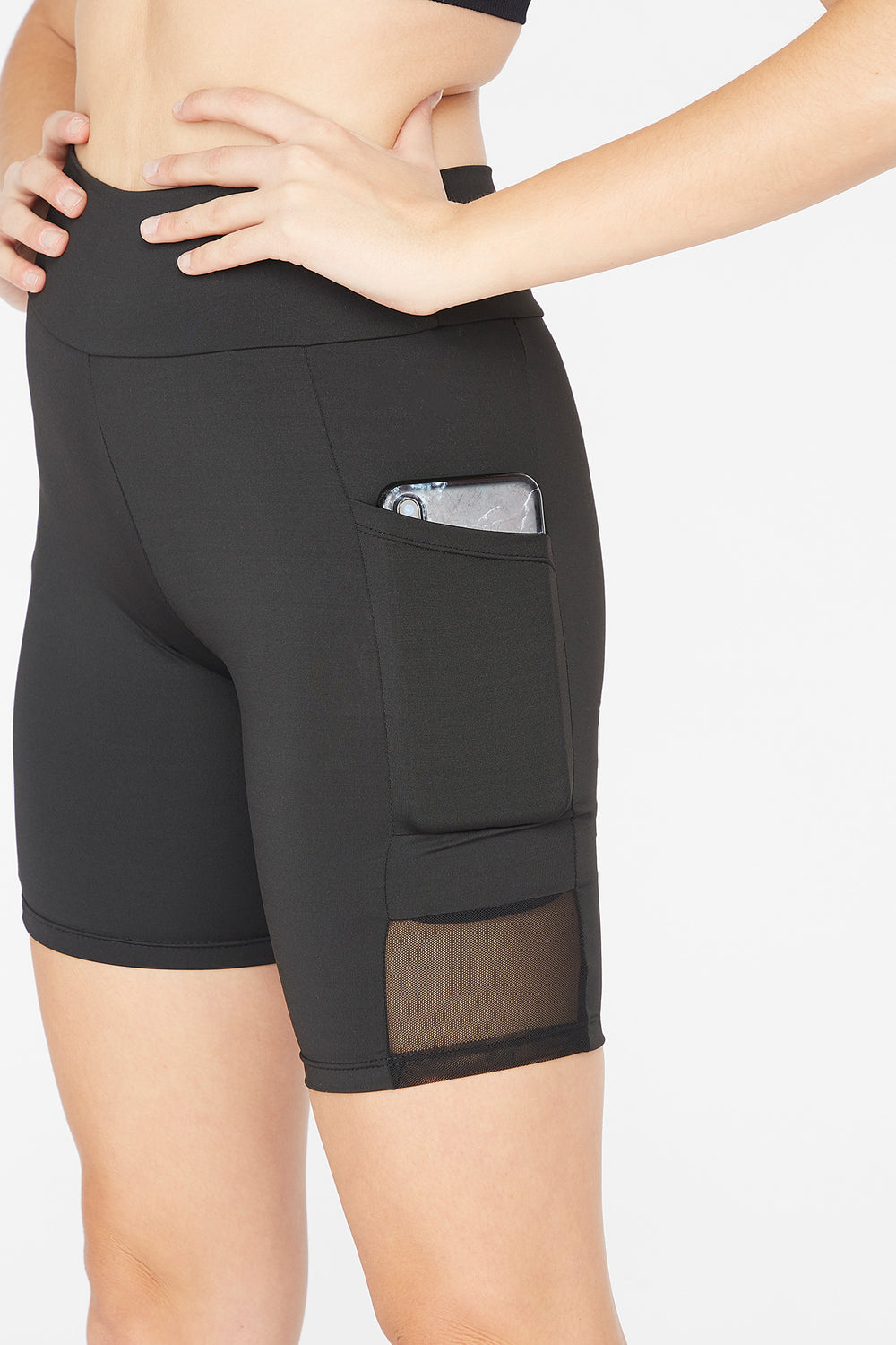 High-Rise Mesh Side Pocket Biker Short Black