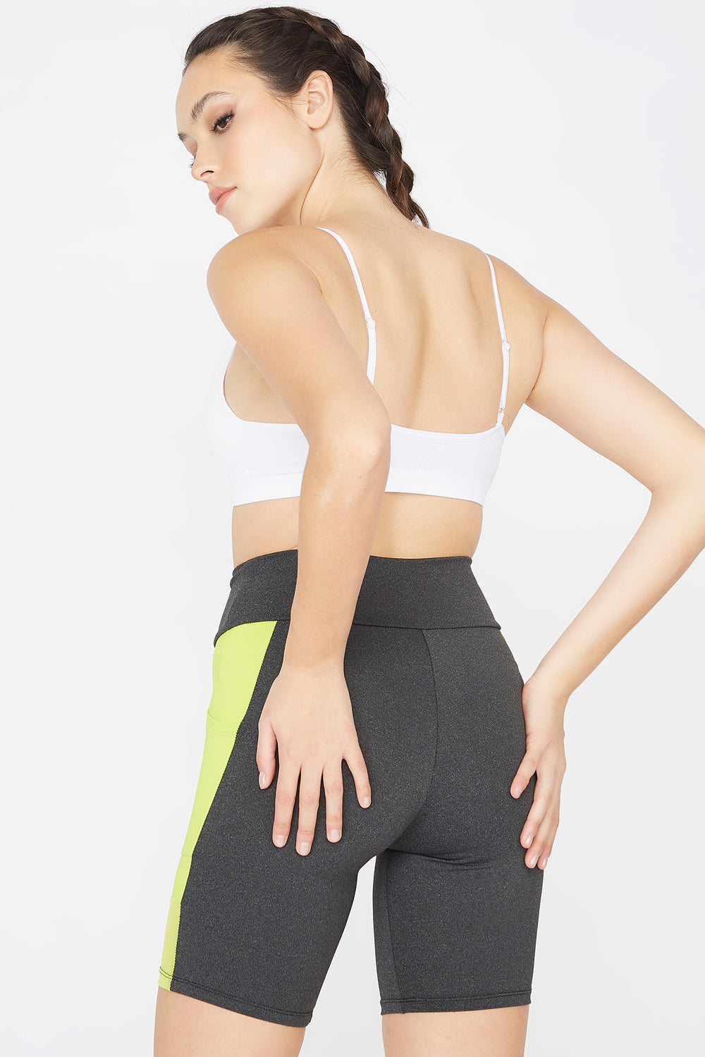 Colour Block High-Rise Mesh Side Pocket Biker Short Charcoal