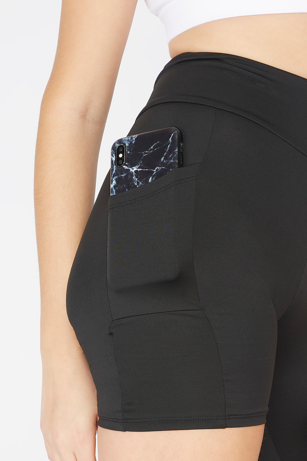 Black High-Rise Side Pocket Biker Short Black