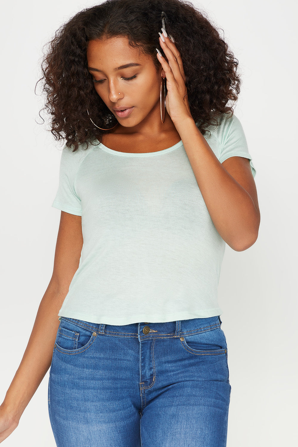 Basic Scoop Neck Cropped T-Shirt Turquoise