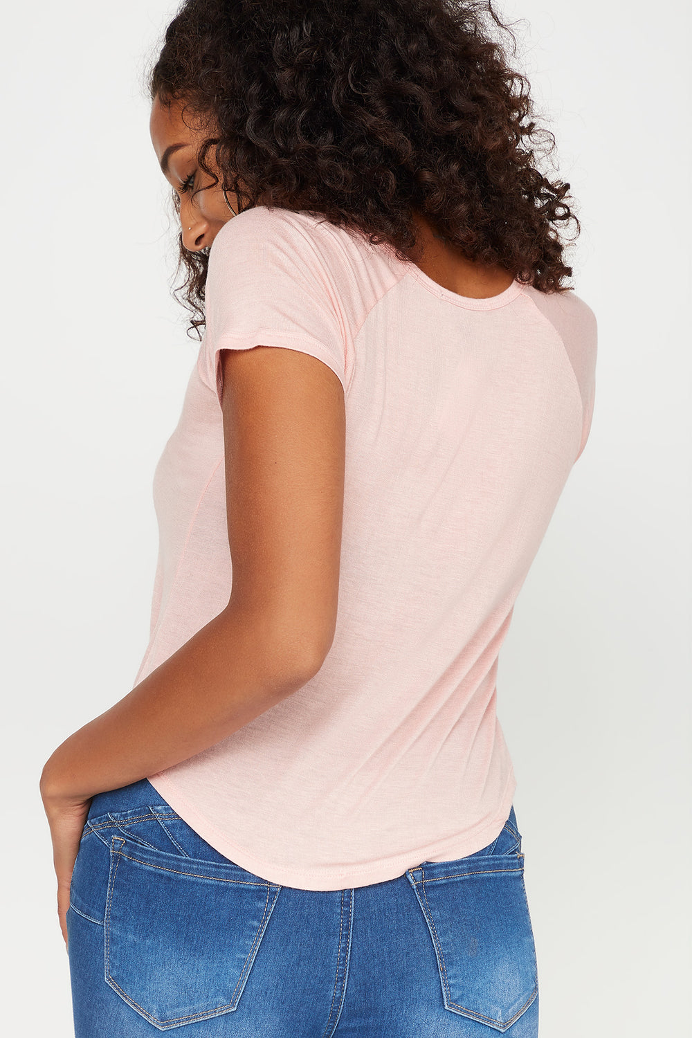 Basic Scoop Neck Cropped T-Shirt Pink